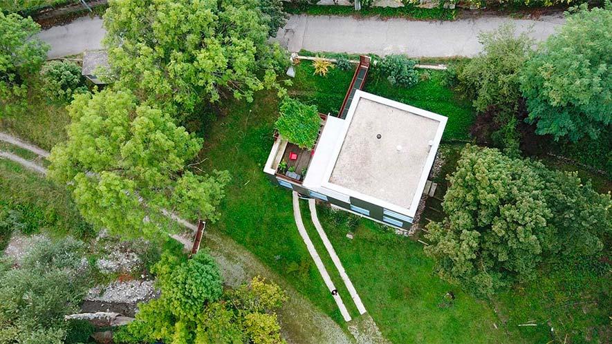 Vue aérienne architecture drone