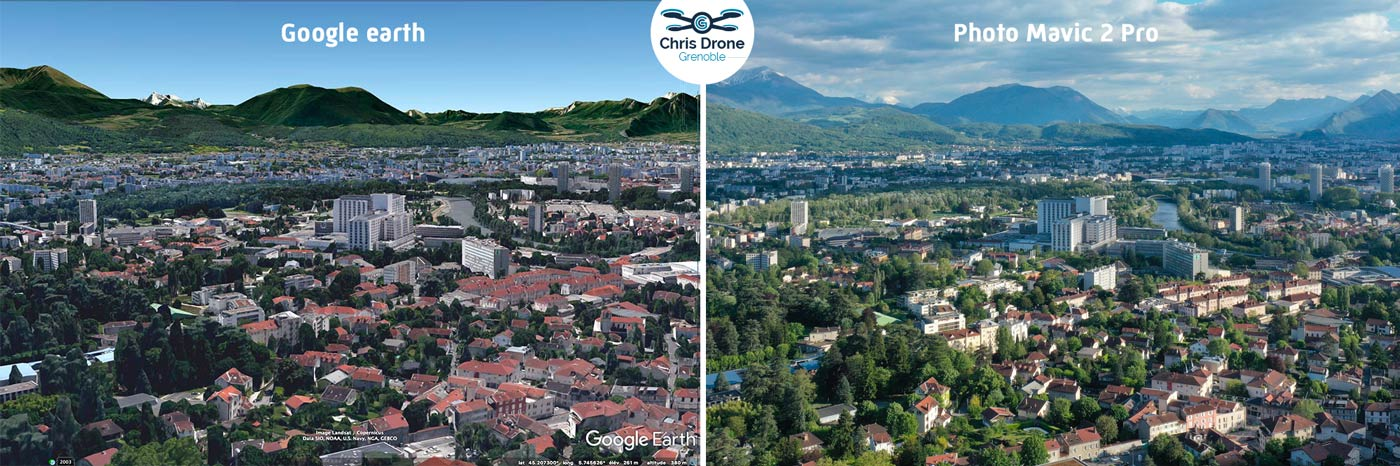 Reproduire une vue de Google Earth de Grenoble avec un Drone