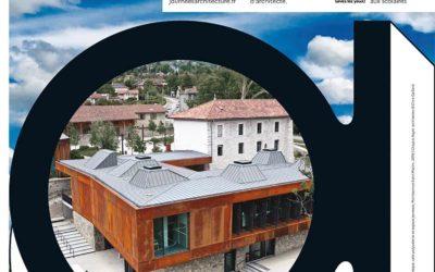 Photos par drone de la médiathèque de Montbonnot pour les architectes Chapuis Royer à Grenoble.